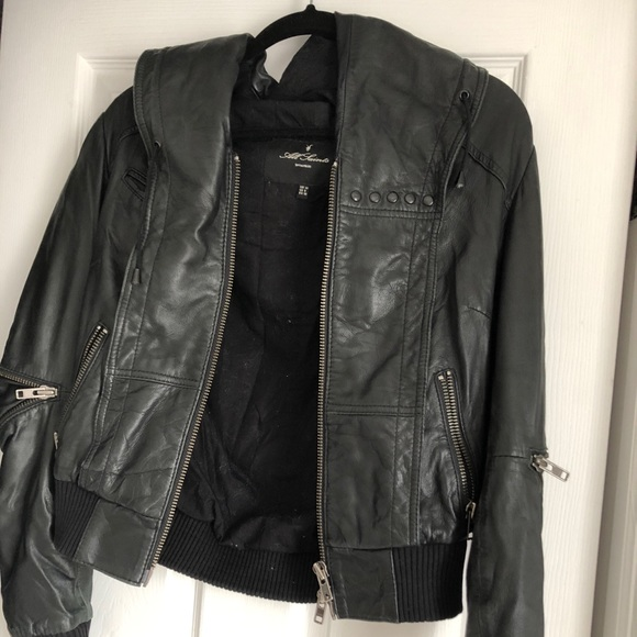 41333fafc Allsaints cobra hooded leather bomber jacket